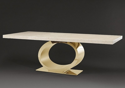 Stone International Eye Boxed Edge Dining Table - Marble and Metal