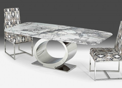 Stone International Eye Rounded Top Dining Table - Marble and Metal