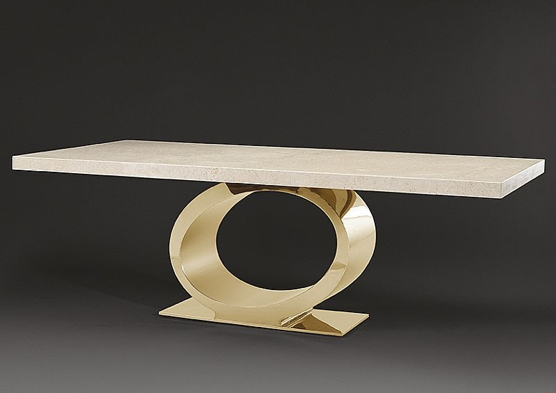 Stone International Eye Dining Table - Marble and Blond Brass