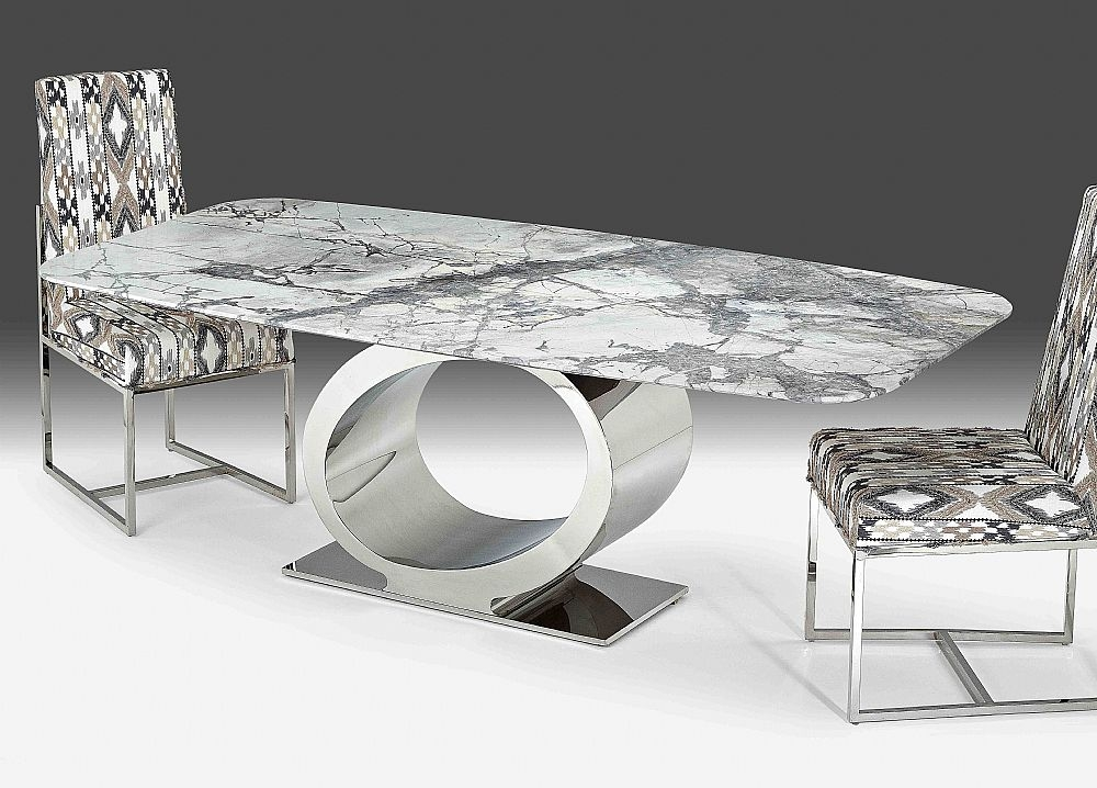 Stone International Eye Rounded Top Dining Table - Marble and Polished Stainless Steel