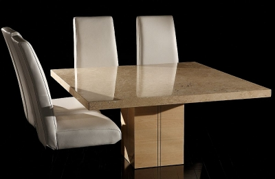 Stone International Florence Marble Square Dining Table with Wooden Base