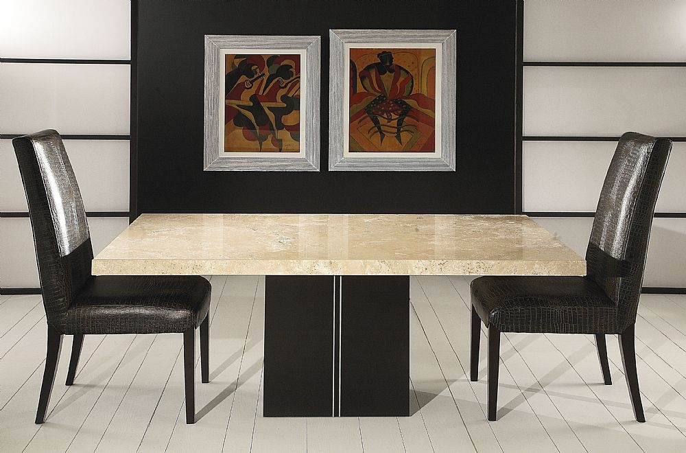 Stone International Florence Marble Dining Table with Wooden Base