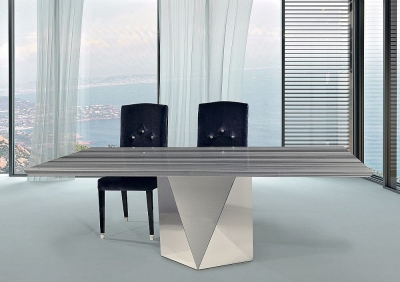 Stone International Freedom Beveled Edge Dining Table - Marble and Stainless Steel