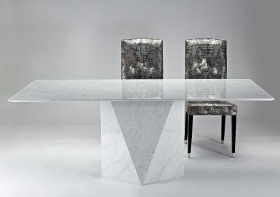 Stone International Freedom Slim Edge Marble Rectangular Dining Table