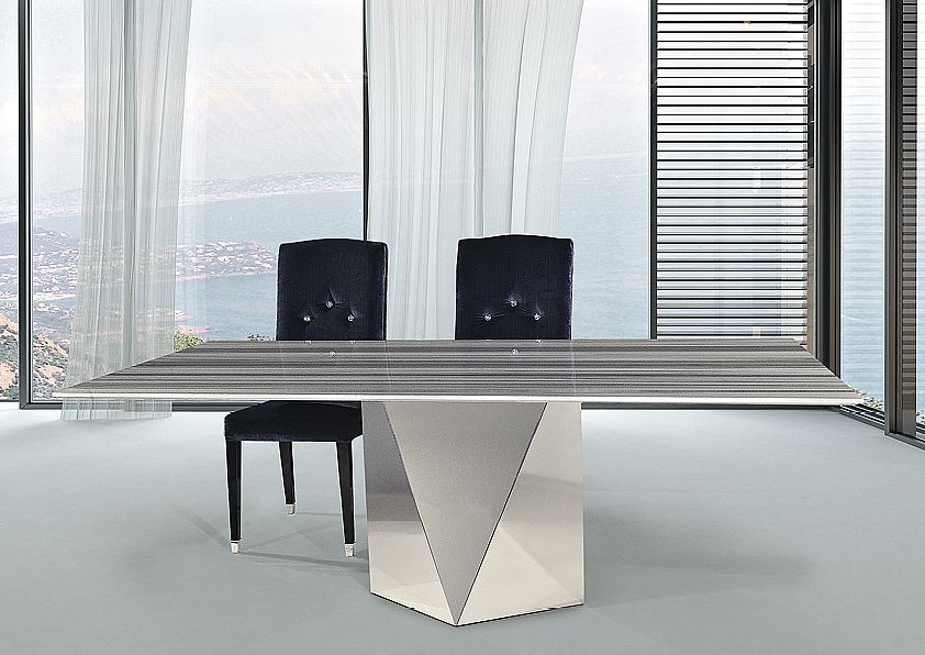 Stone International Freedom Slim Edge Dining Table - Marble and Stainless Steel