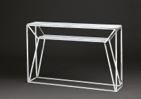 Stone International Ginza Marble Console Table with Polished Steel Base