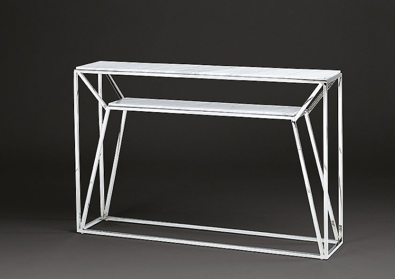Stone International Ginza Console Table - Marble and Polished Steel