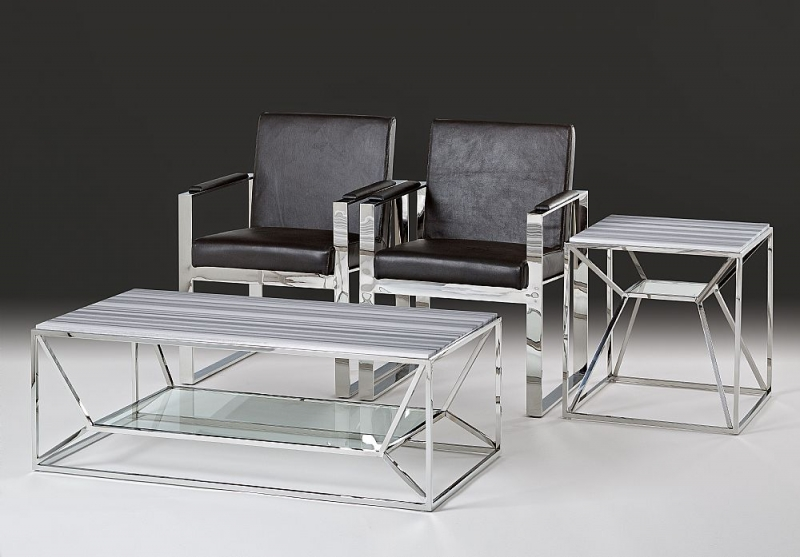 Stone International Ginza Marble and Glass Occasional Table with Polished Steel Base