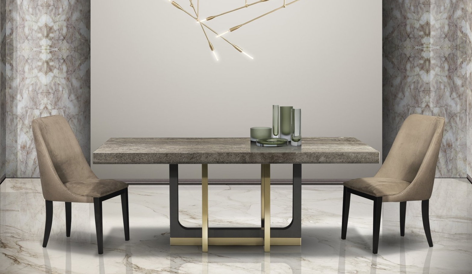 Stone International Harry Dining Table - Marble and Metal