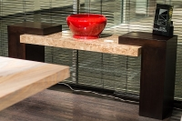 Stone International Helen Marble Top Console Table with Wenge Wooden Base