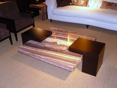 Stone International Helen Marble Top Coffee Table With Wenge Wooden Base