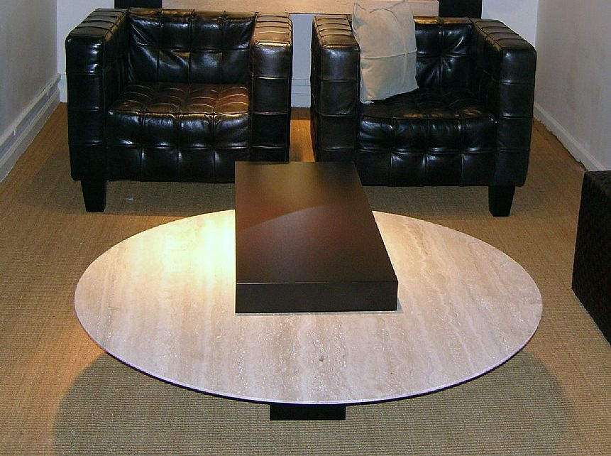 Stone International Helen Round Coffee Table - Marble and Wenge Wood