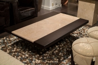 Stone International Hermes Wenge Wooden Coffee Table with Marble Insert