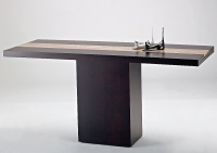 Stone International Hermes Wenge Wooden Console Table with Marble Insert