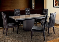 Stone International Hermes Wenge Wooden Dining Table with Insert Marble