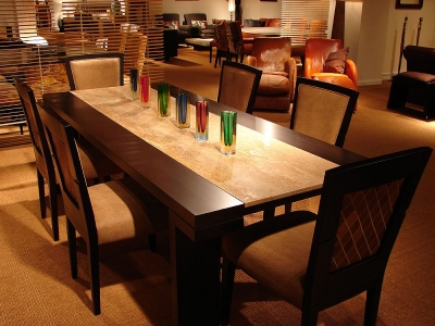 Stone International Hermes Wooden Dining Table with Insert Marble