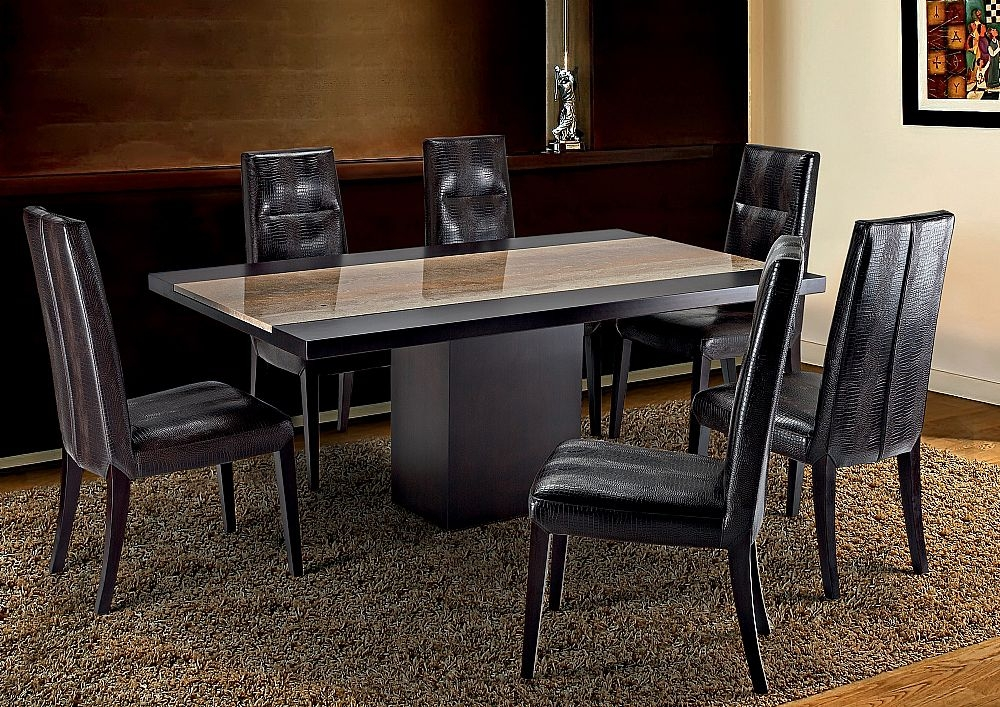 Stone International Hermes Dining Table - Marble and Wenge Wood