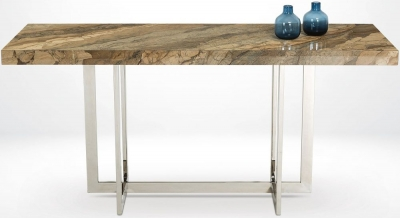 Stone International Horizon Marble and Polished Steel Console Table