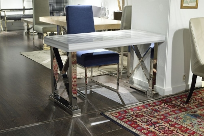 Stone International Impero Boxed Edge Marble Desk with Stainless Steel Base