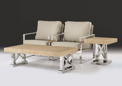 Stone International Impero Occasional Table - Marble and Stainless Steel