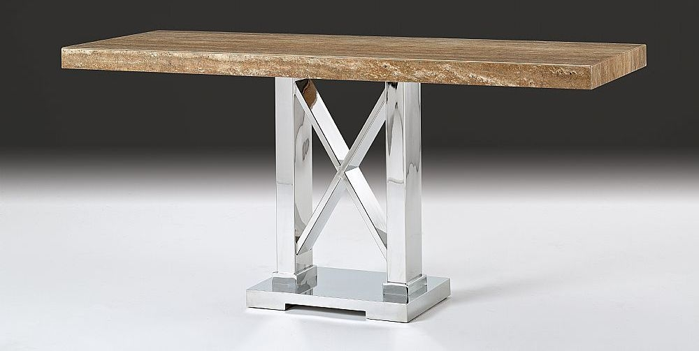 Stone International Impero Boxed Edge Marble Dining Table with Stainless Steel Base