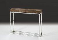 Stone International Kubo Console Table - Marble and Stainless Steel