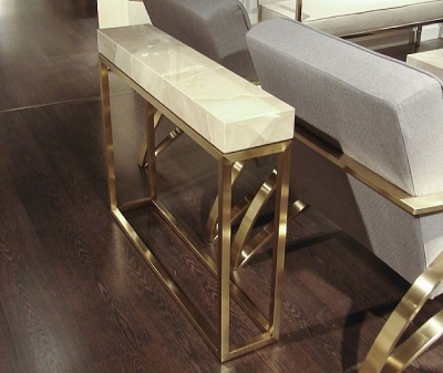 Stone International Kubo Console Table - Marble and Satin Brass