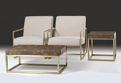 Stone International Kubo Occasional Table - Marble and Satin Brass