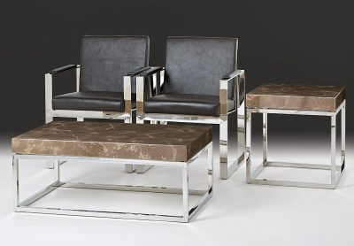 Stone International Kubo Occasional Table - Marble and Satinless Steel