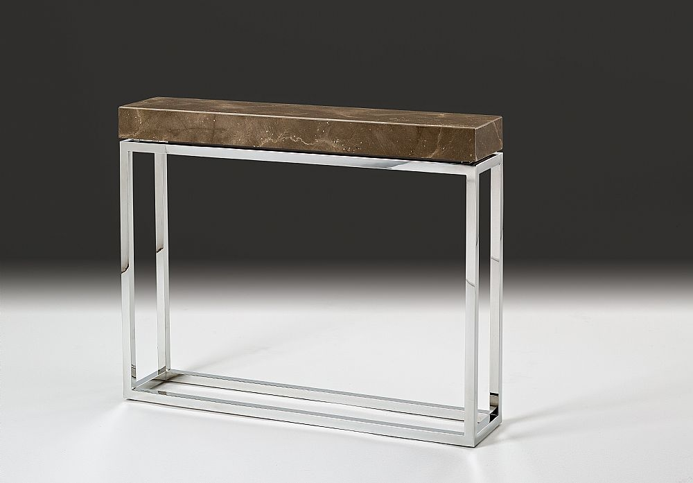Stone International Kubo Boxed Edge Console Table with Stainless Steel Base