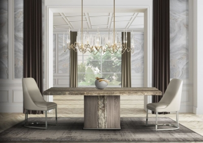 Stone International Kyoto Dining Table - Marble and Polished Stainless Steel