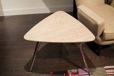 Stone International Livia Marble Triangle Side Table