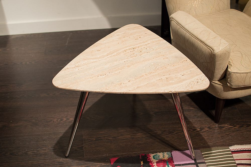 Stone International Livia Marble Triangle Side Table
