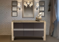 Stone International Lugano Buffet - Marble and Polished Stainless Steel