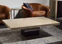 Stone International Lugano Marble Occasional Tables - Wenge Wood and Polished Stainless Steel