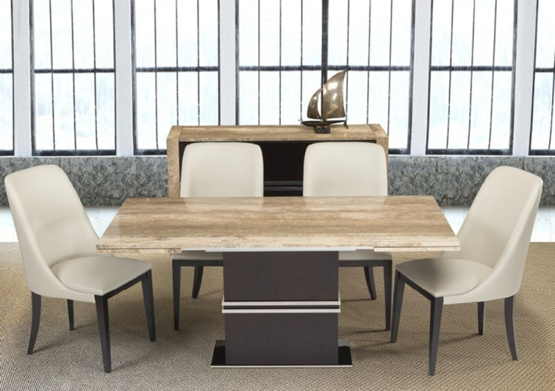 Stone International Lugano Marble and Wood Extending Dining Table