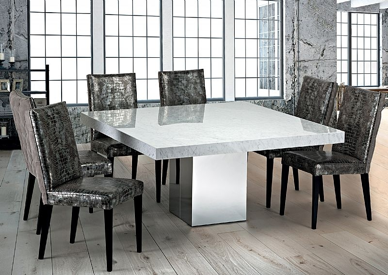 Stone International Manhattan Boxed Edge Marble Sqaure Dining Table with Stainless Steel Base