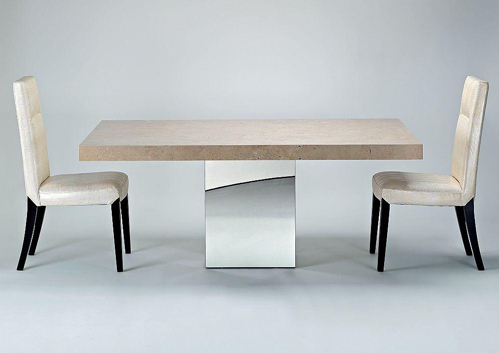 Stone International Manhattan Dining Table - Marble and Stainless Steel
