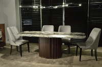 Stone International Mayfair Marble Dining Table with Wenge Wooden Base