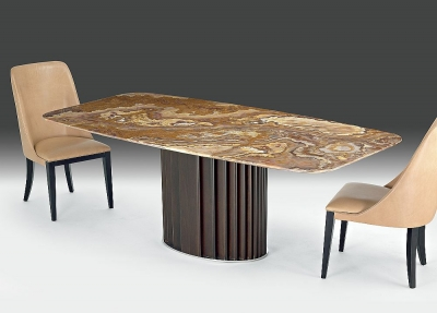 Stone International Mayfair Marble Rectangular Dining Table with Wenge Wooden Base - W 220cm