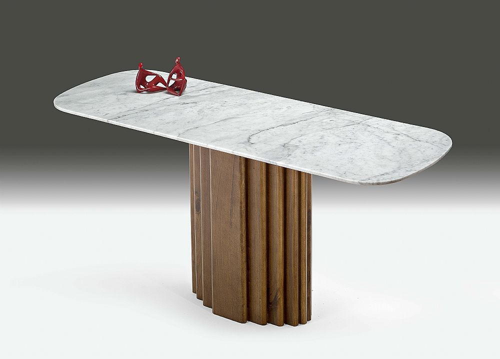 Stone International Mayfair Marble Console Table with Wenge Wooden Base