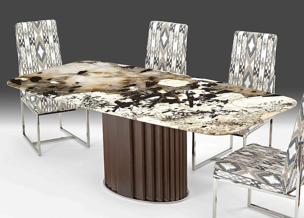 Stone International Mayfair Marble Rounded Corner Dining Table with Wenge Wooden Base