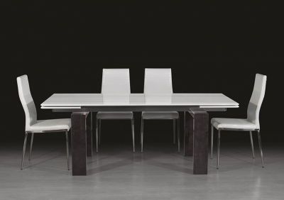 Stone International Milano Marble and Wood Extending Dining Table