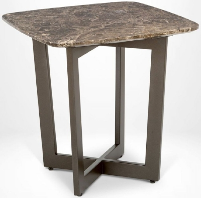 Stone International Oscar Marble and Metal Lamp Table