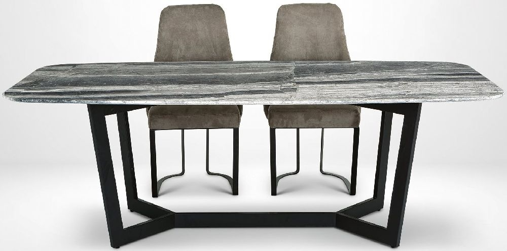 Stone International Oscar Marble and Metal Dining Table