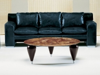 Stone International Positano Marble Round Coffee Table with Wenge Wooden Legs