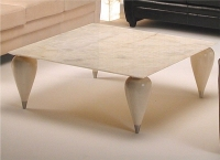 Stone International Positano Marble Square Coffee Table with Wenge Wooden Legs