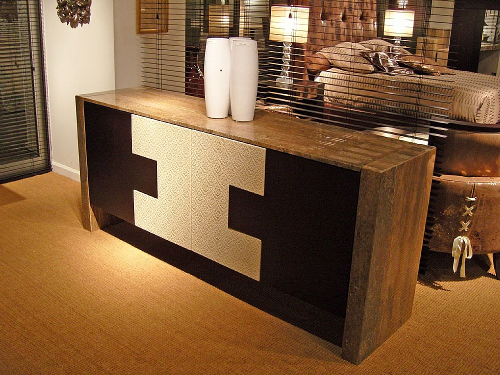 Stone International Puzzle Marble Buffet with Wooden Top
