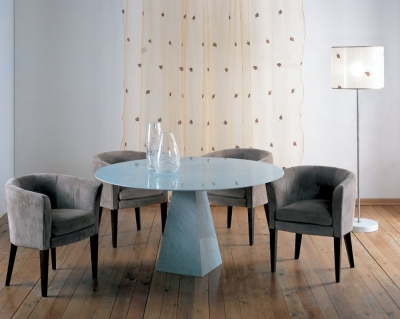 Stone International Pyramid Marble Round Dining Table