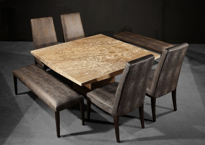 Stone International Roma Boat Edge Marble Dining Table